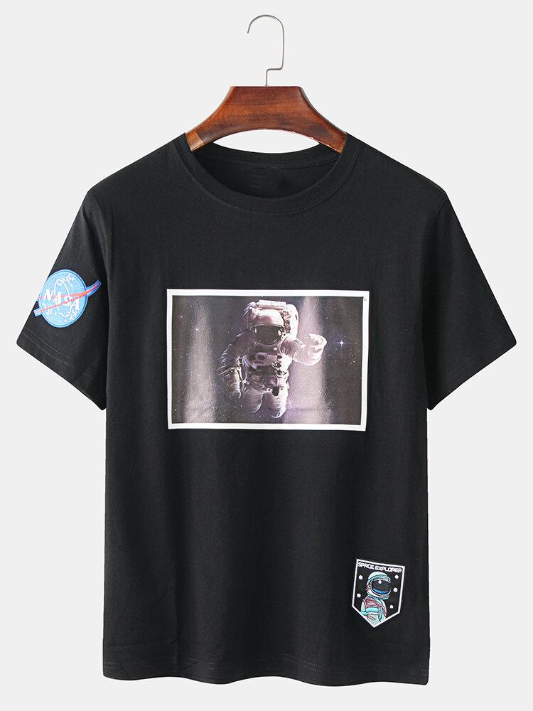 Mens Cute Astronaut Printed Loose Short Sleeve T-Shirts