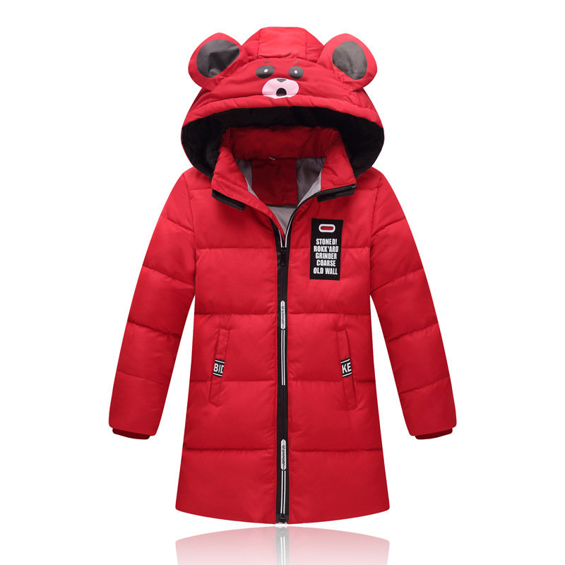 Bear Print Girls Boys Hooded Downs Parkas Kids Thick Coat For 4Y-11Y