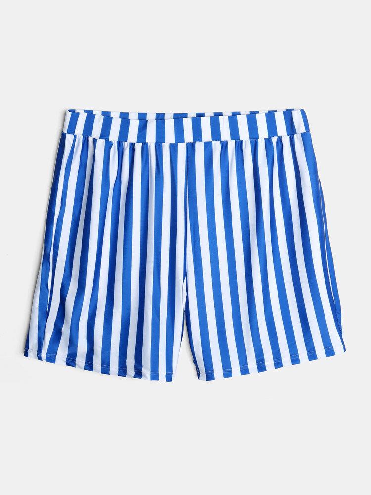 Mens Plain Striped Casual Drawstring Mid Length Swim Trunks