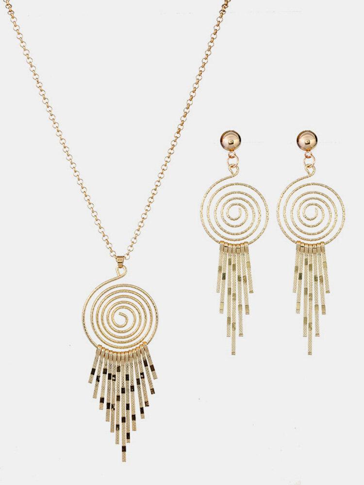 Statement Womens Bridal Wedding Jewelry Set Spiral Tassel Pendant Long Necklaces Drop Earrings