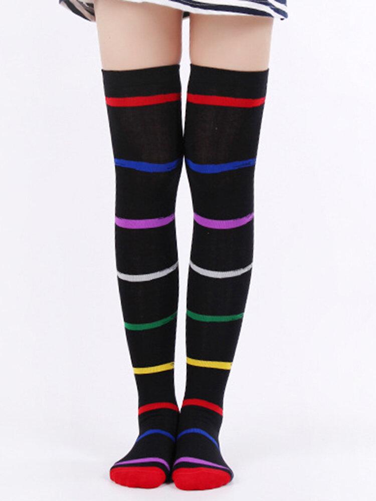 New Rainbow Stripes Over The Knee Socks Color Personality Fashion Ladies High Socks Thigh Socks