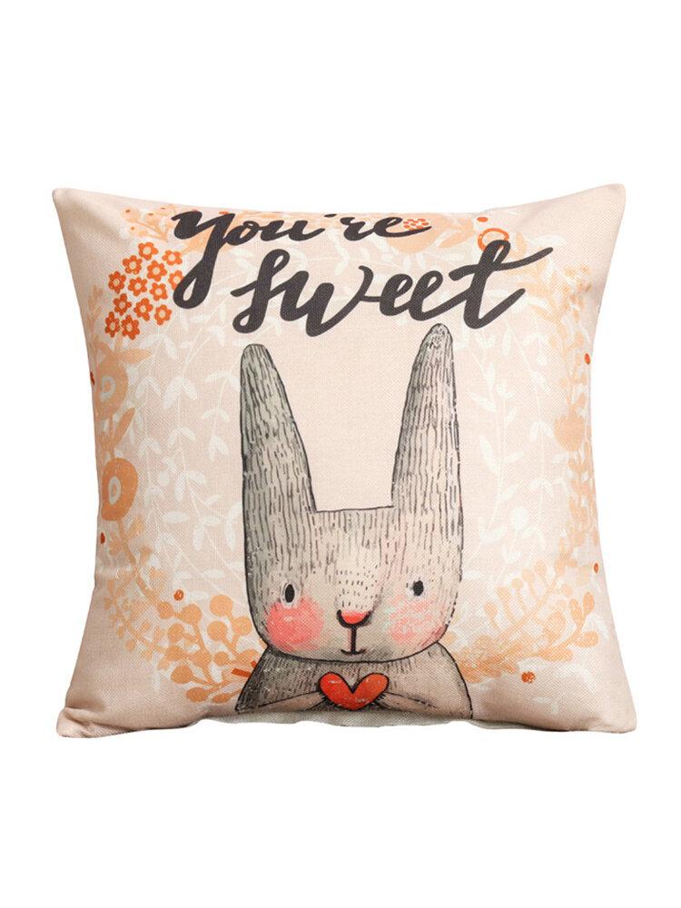 Lovely Rabbit Cartoon Pattern Linen Pillow Case Home Fabric Sofa Mediterranean Cushion Cover