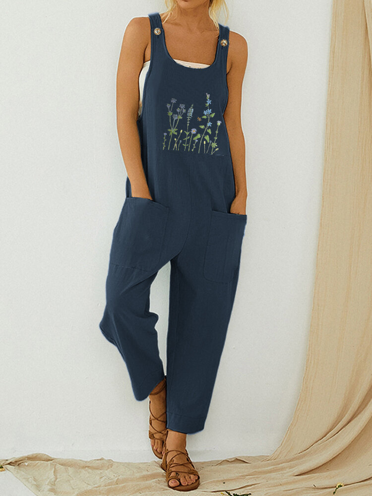 Floral Embroidery Straps Jumpsuit With Pocket