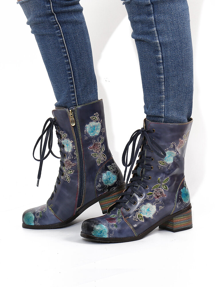 SOCOFY Elegant Printed Leather Comfy Wide Fit Round Toe Short Boots