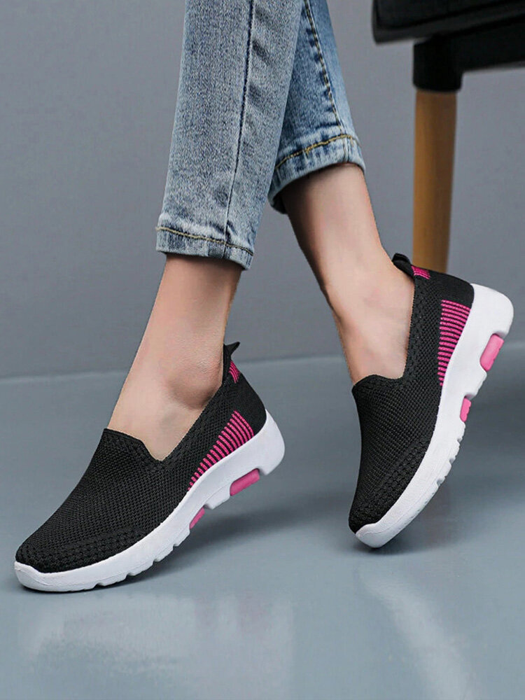 Women Comfy Lazy Mesh Breathable Slip On Walking Shoes