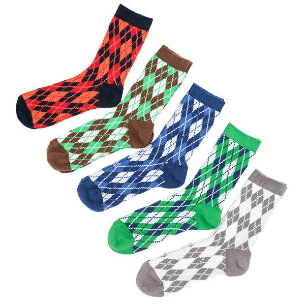 Mens Cotton Retro Ethnic Style Thread Coarse Needle Multicolor Middle Tube Socks High Ankle Socks