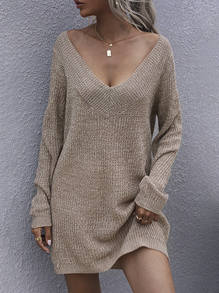 Solid Color V-neck Long Sleeves Knit Sweater Dress for Women