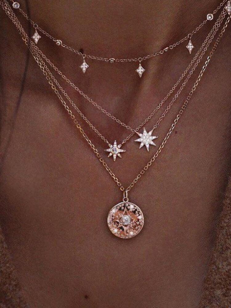 Bohème multicouche colliers en or rondes tranches de perles étoiles chaîne pendentif collier pour les femmes