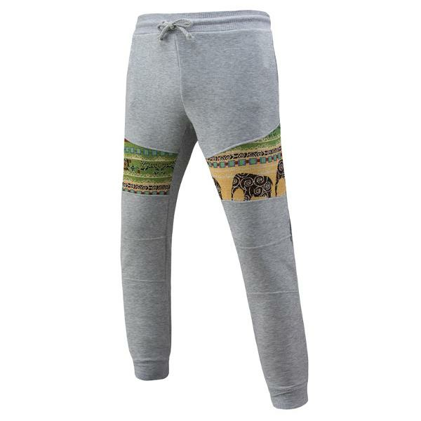 Mens National Style Printing Casual Pants Drawstring Sport Long Trousers
