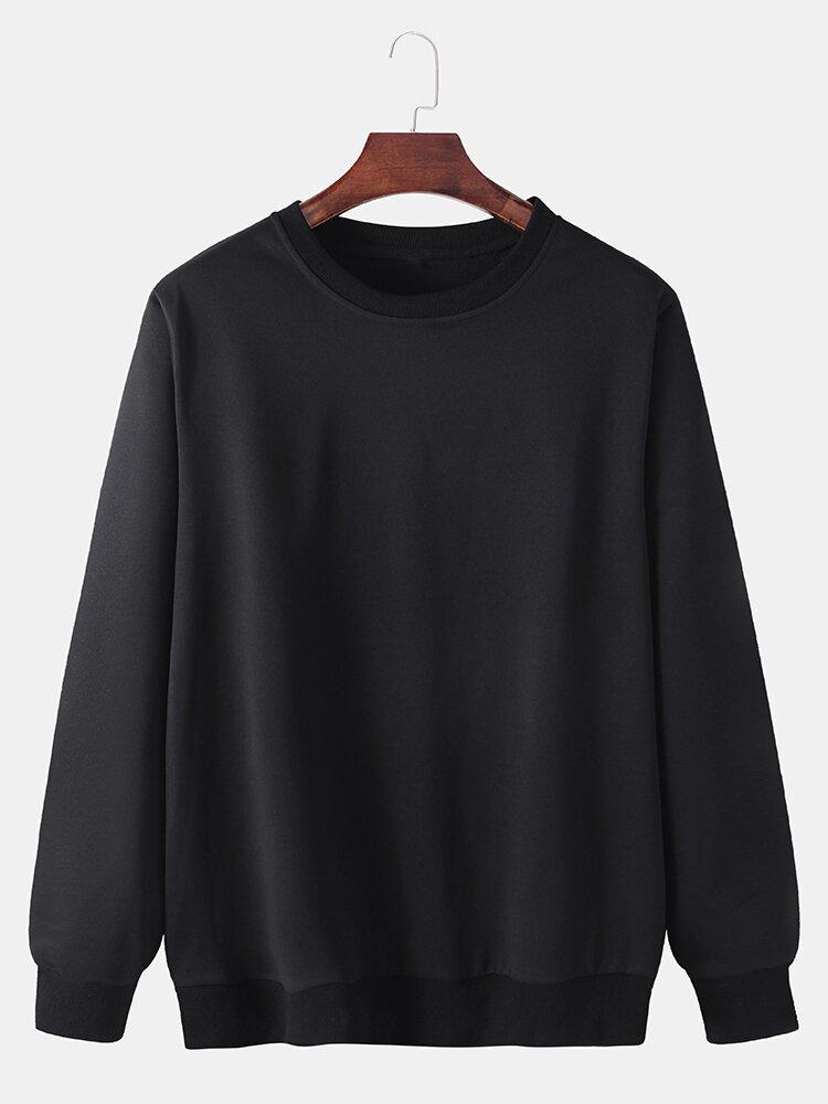 メンズコットンソリッドベーシックルーズデイリークルーネックエラスティックヘムプルオーバースウェットシャツ