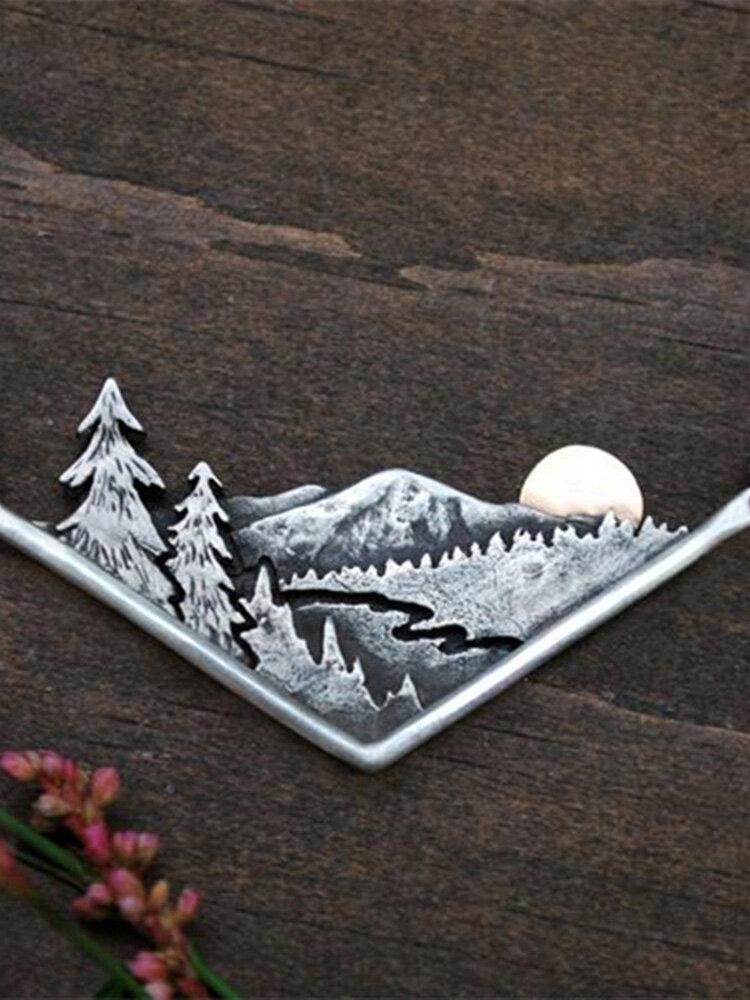 Vintage Stereoscopic Irregular Triangular Women Necklace Mountain Sunset Forest Pendant Necklace