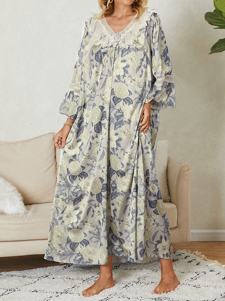 Women All Over Floral Print V-Neck Cotton Maxi Nightgown