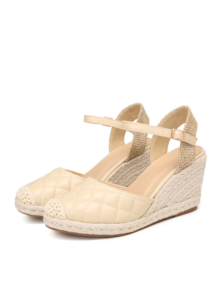 Women Almond Closed Toe Ankle Buckle Espadrilles Wedges Shoes
