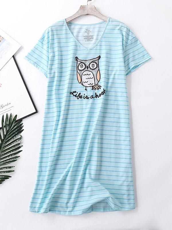 Plus Größe Damen Softies Nachthemd Gestreifter Eulendruck V-Ausschnitt Kurzarm Casual Loungewear