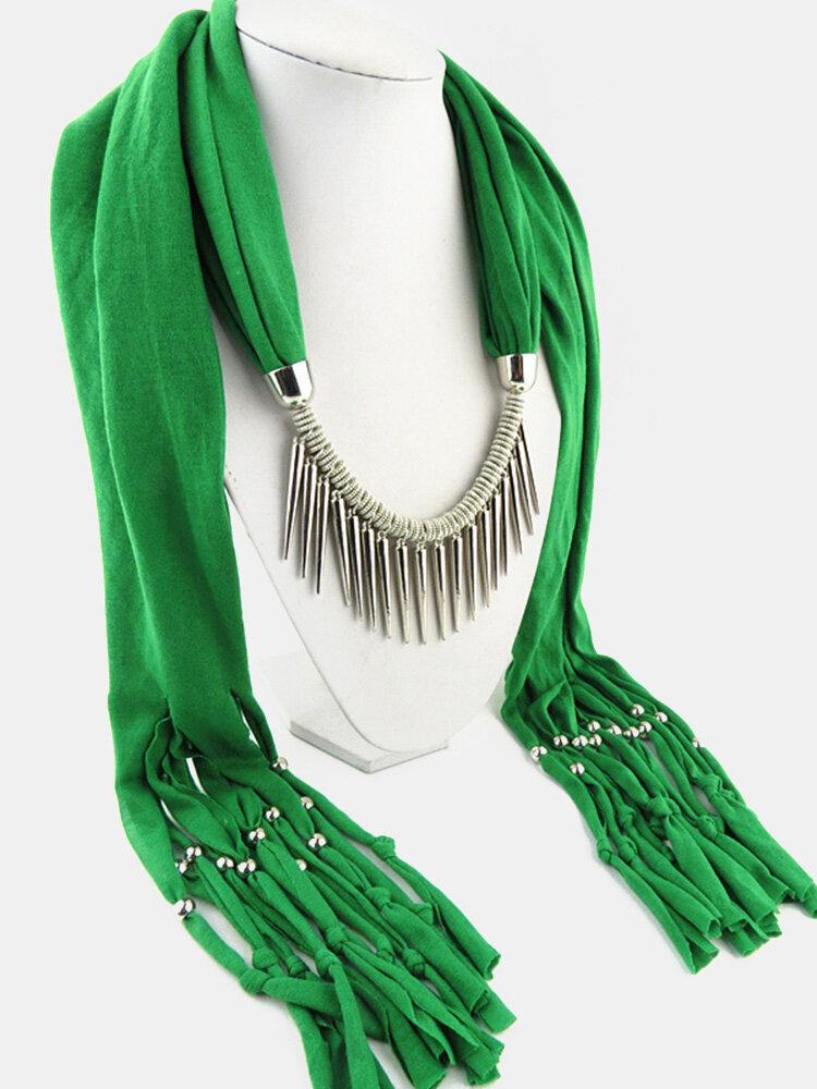 20 Colors Bohemian Women Scarf Necklace Shawl Autumn Winter Tassel Pendant Necklace