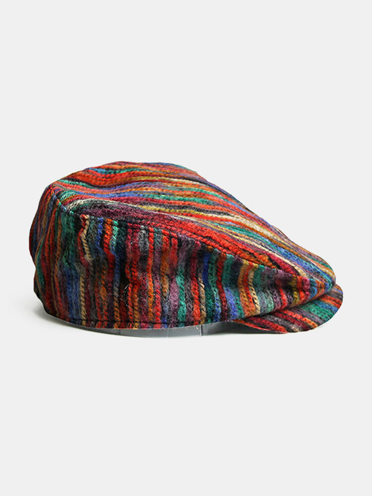 Women Tie-dye Rainbow Mixed Color Stripes Pattern Ethnic Style Casual Personality Forward Hat Flat Hat