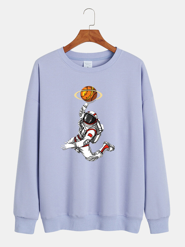 Mens Cartoon Astronaut Chest Print Solid Loose Daily Pullover Sweatshirts