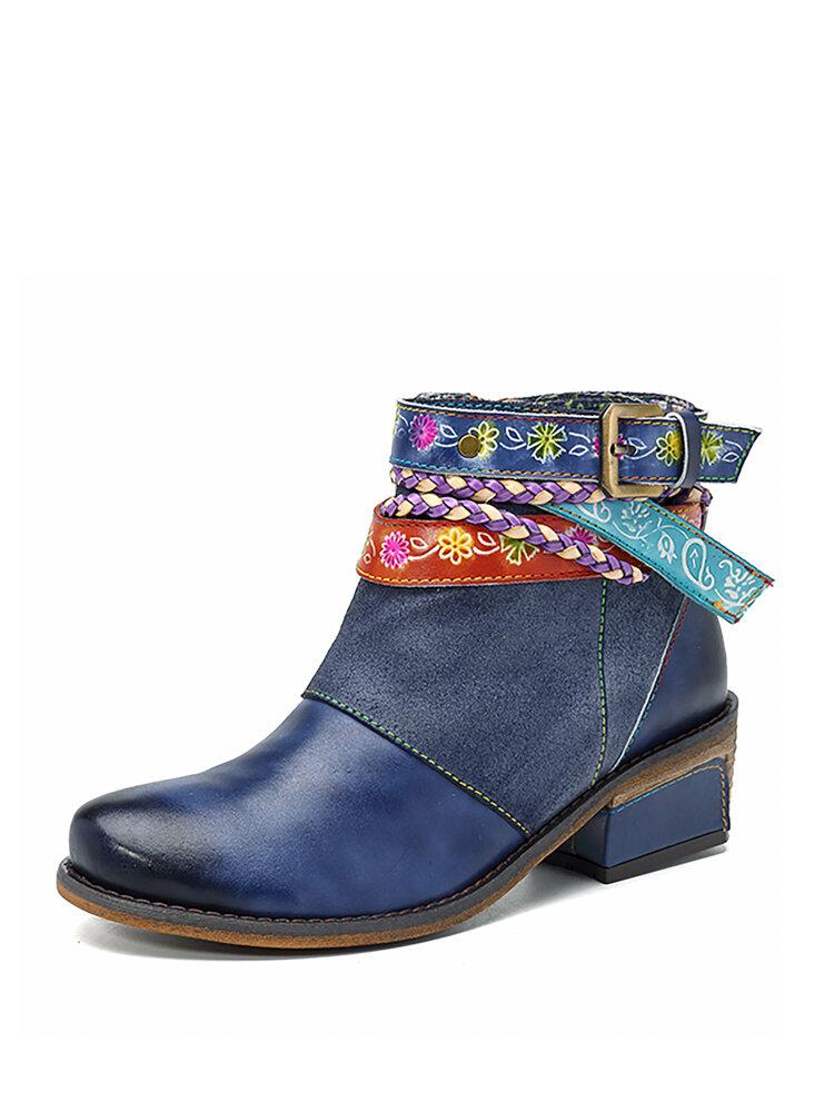 SOCOFY Кожаные ручные ботинки до лодыжки