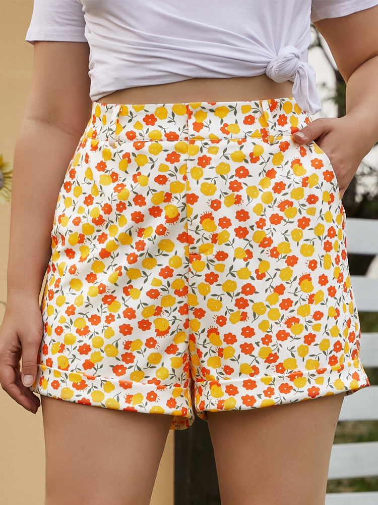 Floral Print Zipper Pocket Casual Holiday Plus Size Shorts For Women