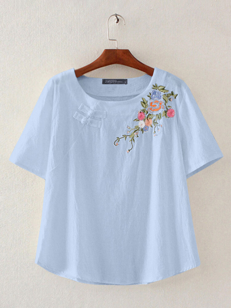 Vintage Floral Embroidery Short Sleeve Dish O-neck T-shirt