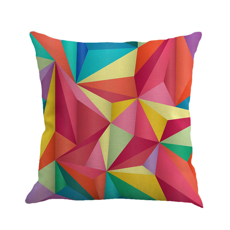 Colorful Abstract Geometric Linen Pillowcase Square House Decor Cushion Cover 45*45 cm