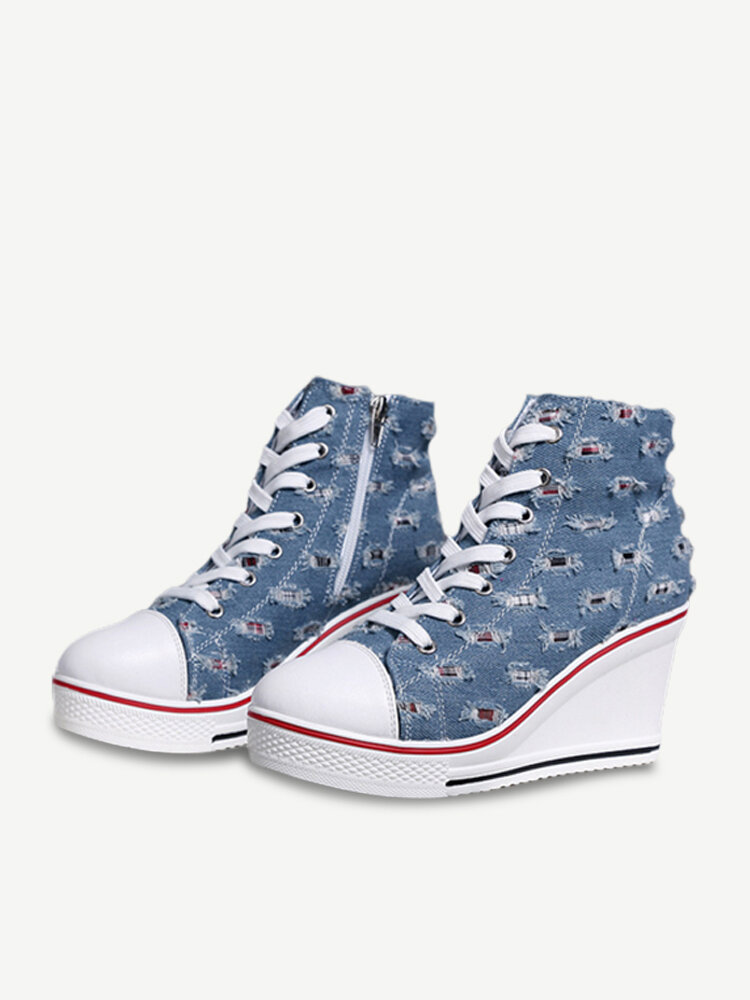 Canvas Zipper Lace Up Wedges High Top Shoes