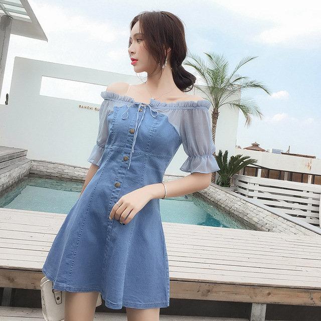 Strapless Slim Denim Stitching One-Shoulder Dress