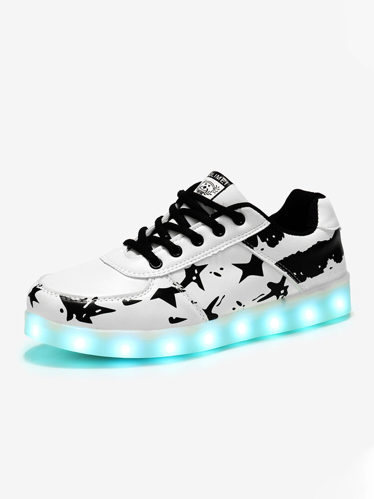Women Pattern LED Light Up Colorful Skate Sneakers