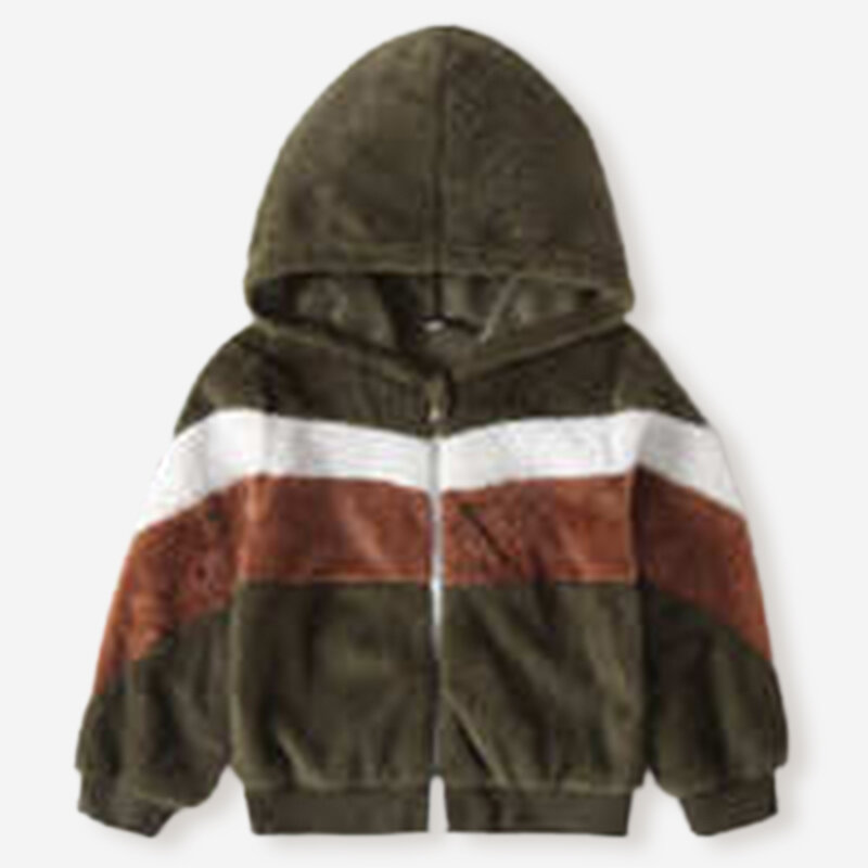 Boy's Color Patchwork Long Sleeves Casual Warm Coat For 2-8Y
