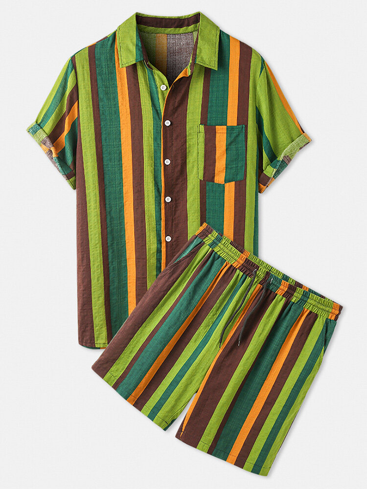 Men Thin & Breathable Cotton Outfits Sets Colorful Stripe Two Pieces