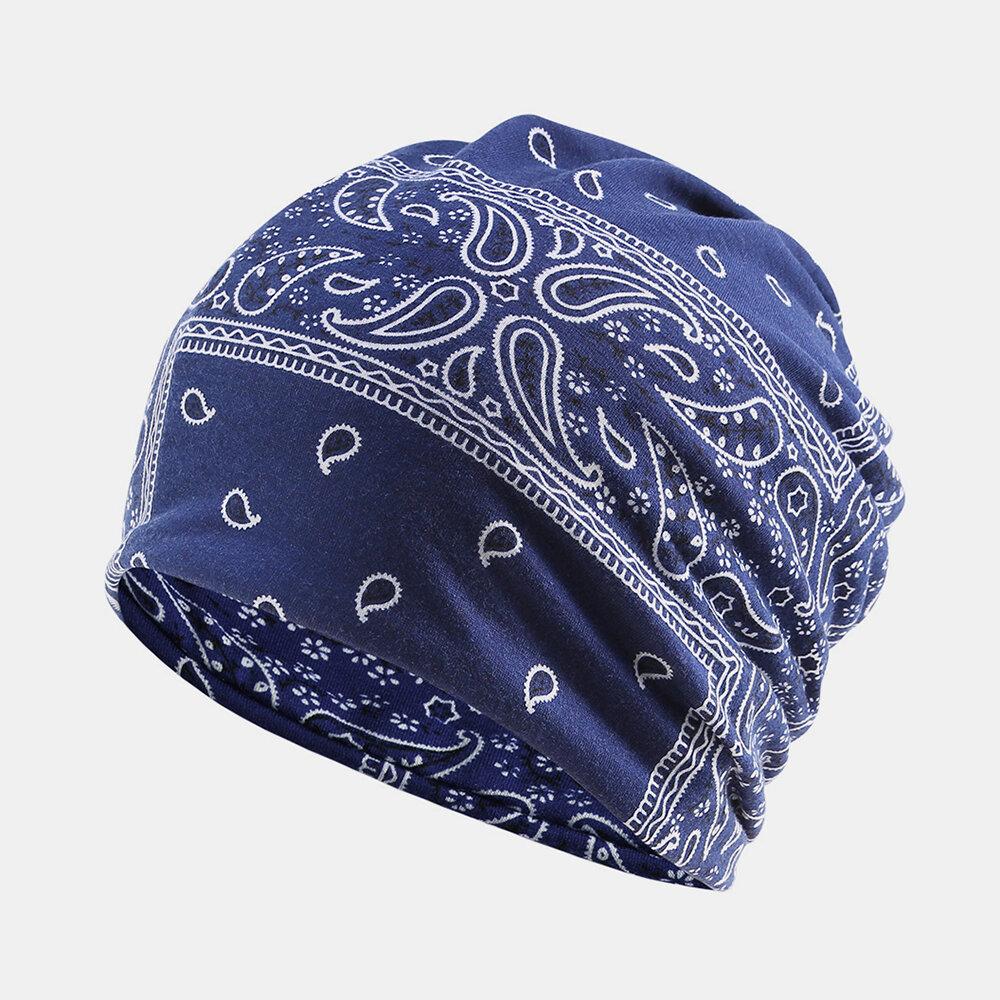 Women's Ethnic Cotton Beanie Vintage Elastic Hat Breathable Turban Cap