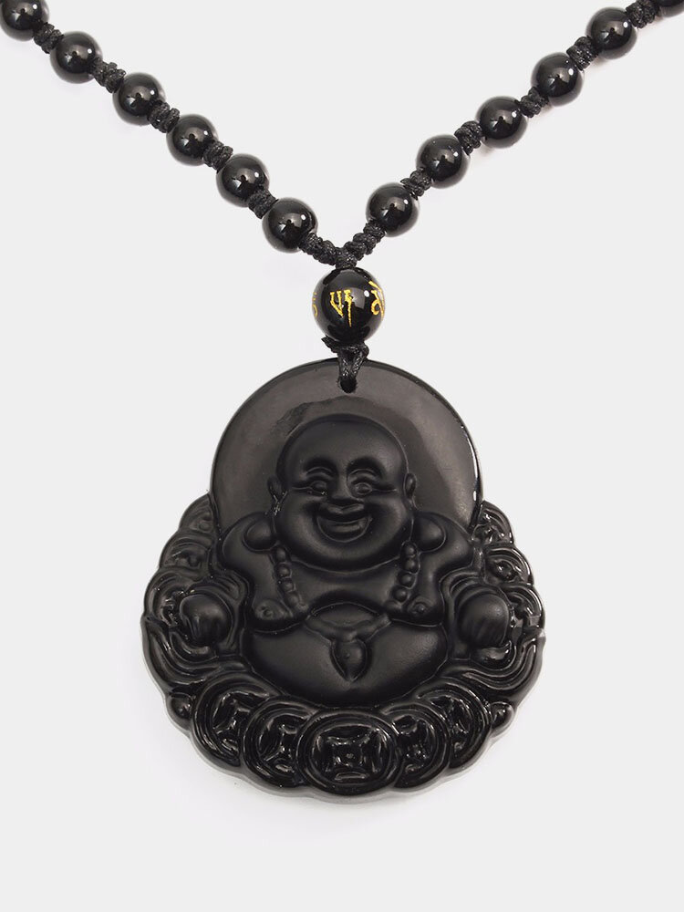 Simple Unisex Necklace Natural Obsidian Hand Carved Coin Smile Buddha Necklace