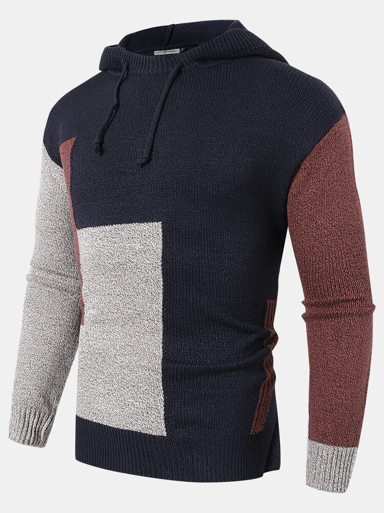 Mens Color Block Knitted Warm Casual Relaxed Fit Drawstring Hooded Sweater