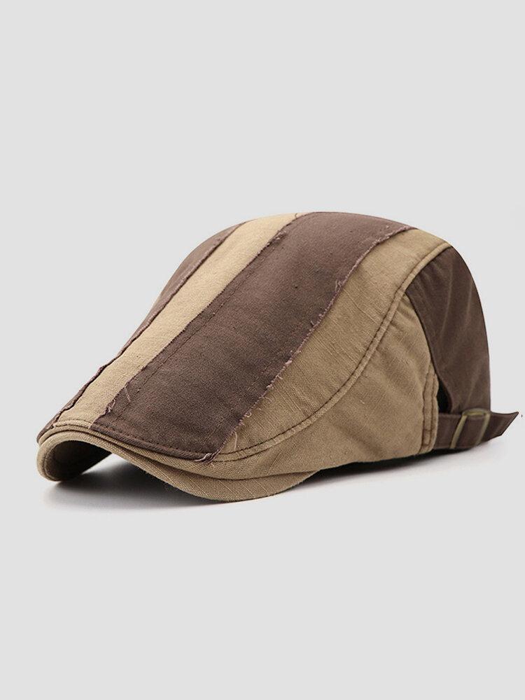 Men Cotton Stitching Stripes Cap Outdoor Leisure Wild Forward Hat Flat Cap
