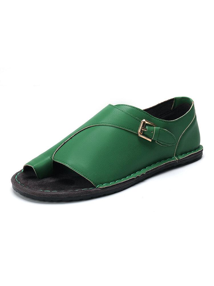 Large Size Women Retro Solid Color Buckle Clip Toe Flat Sandals