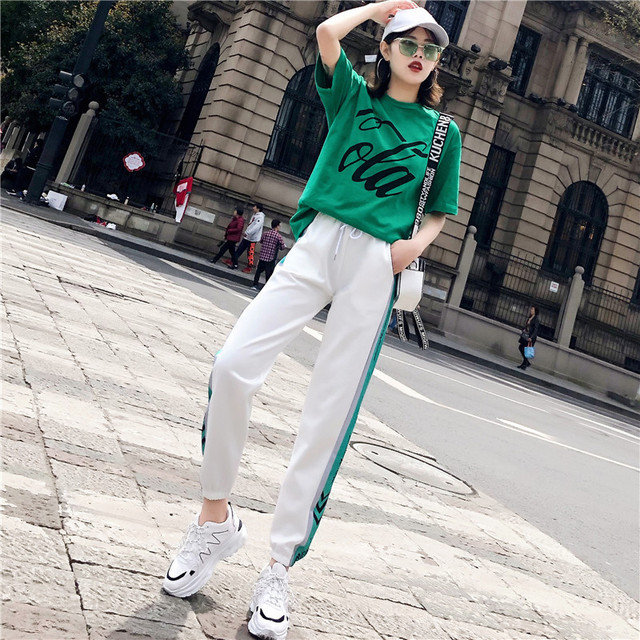 Sports Suit Women's New Season Fashion Hip Hop Casual Loose Running Clothes Two-piece Short-sleeved Tide Days