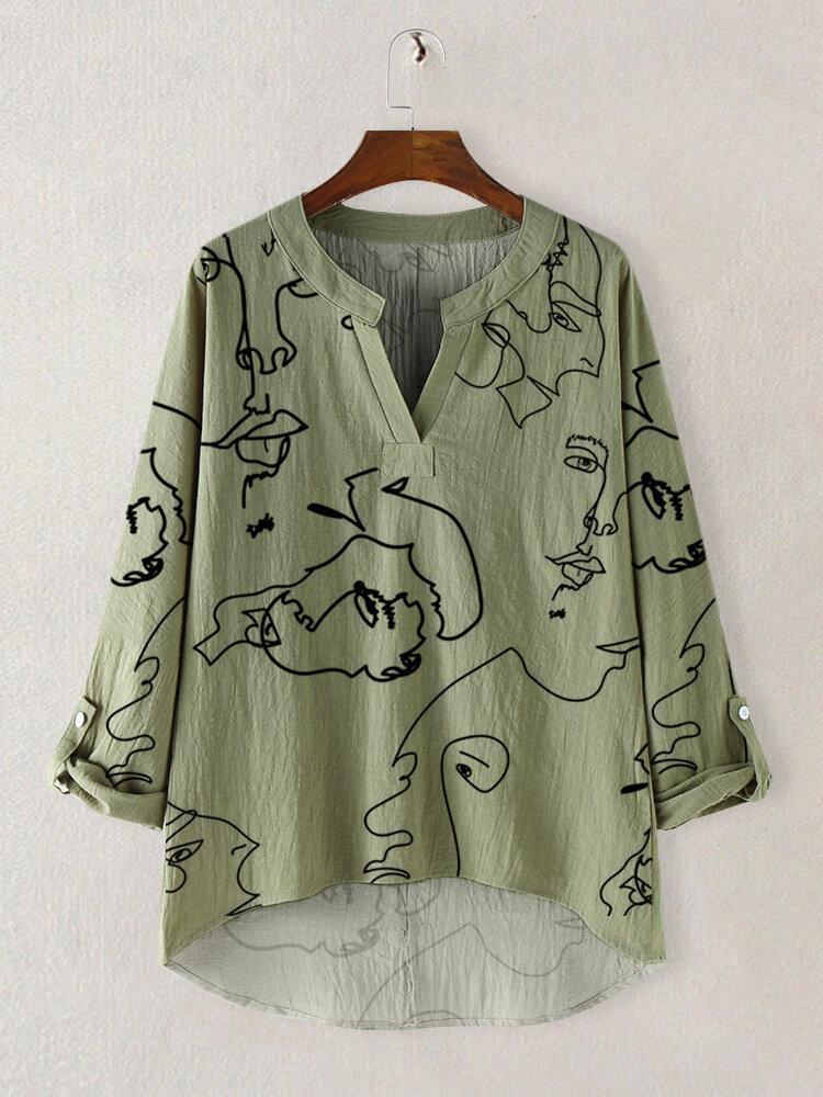 Abstract Pattern Print V-neck Long Sleeve Women Blouse