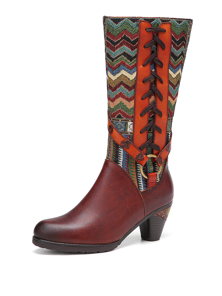 SOCOFY  Metal Buckle Decor Wavy Embroidery Splicing Genuine Leather Short Heels Mid-calf Boots