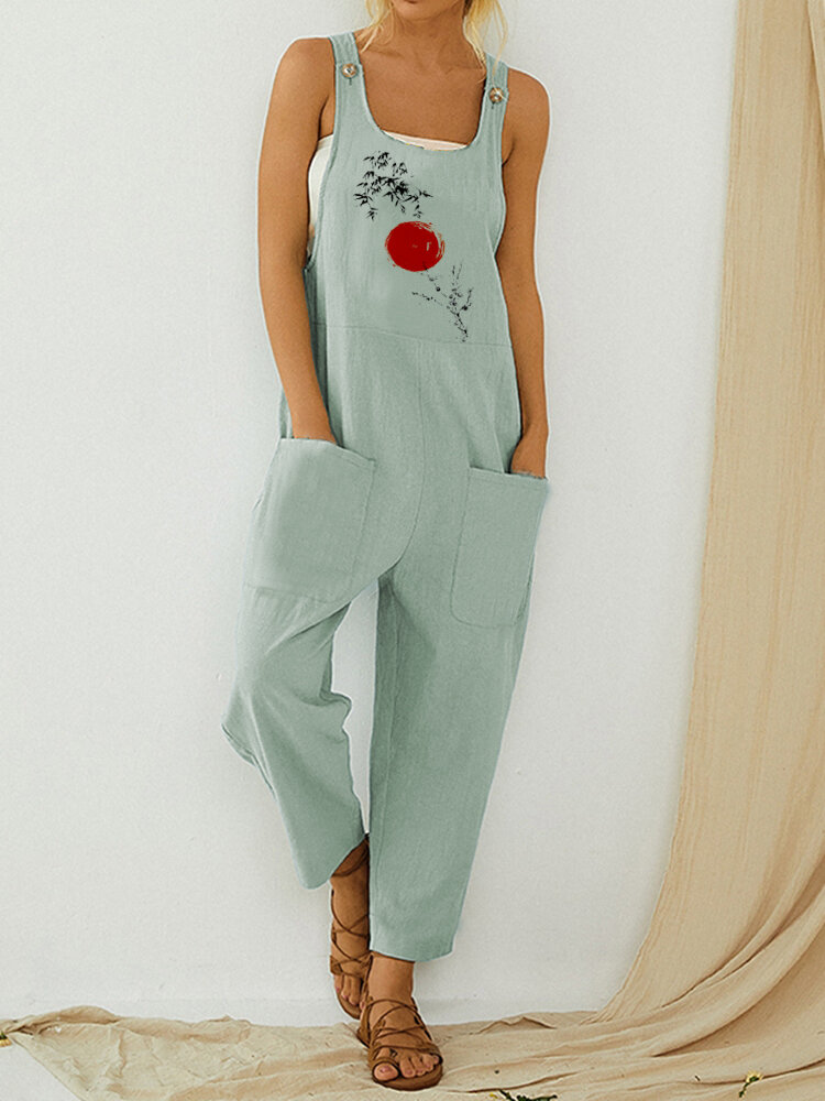 Casual Calico Print Sleeveless Pockets Button Jumpsuit For Women, Khaki;blue