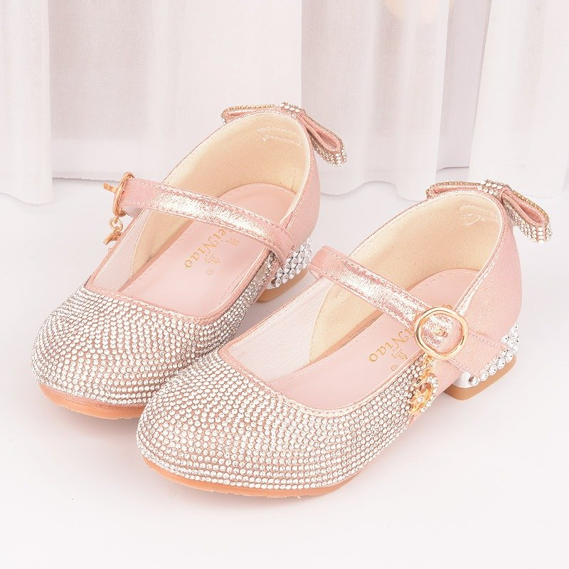Girls Shining Rhinestone Metal Buckle Kitten Heel Princess Dress Shoes