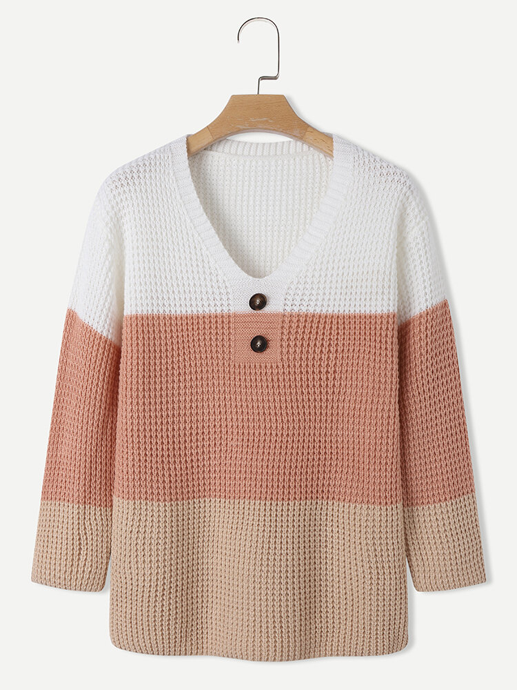 Multi-color Patchwork V-neck Button Knitted Casual Sweater for Women