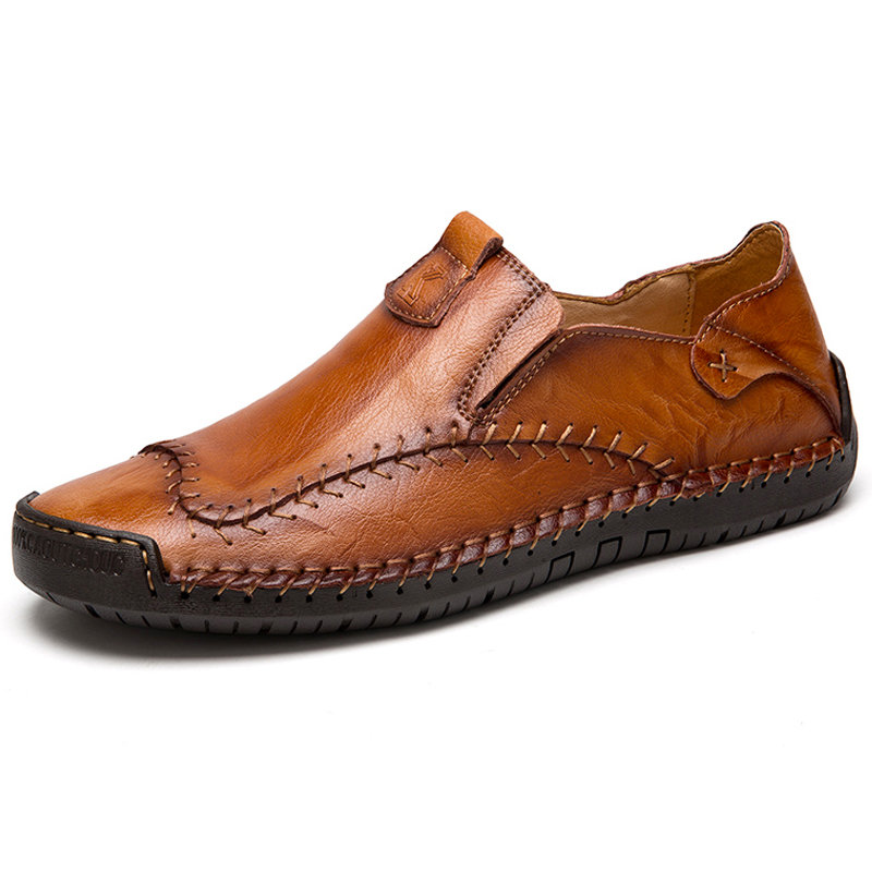 Menico Men Hand Stitching Non Slip Large Size Soft Sole Casual Leather Shoes
