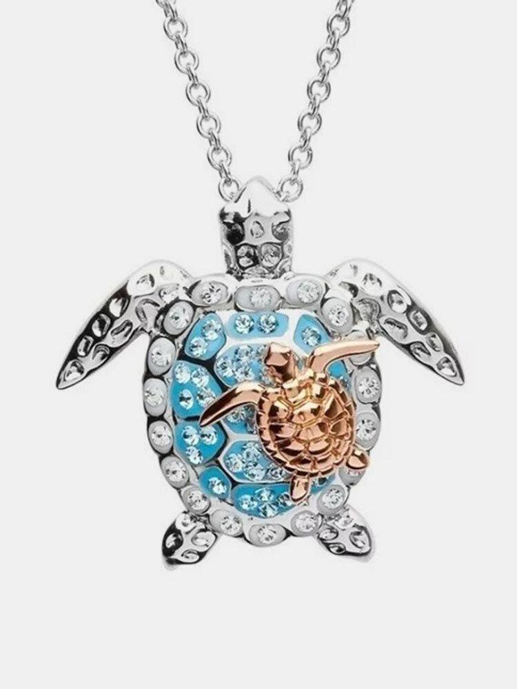 Luxury Alloy Diamonds Ocean Turtle-shape Necklace