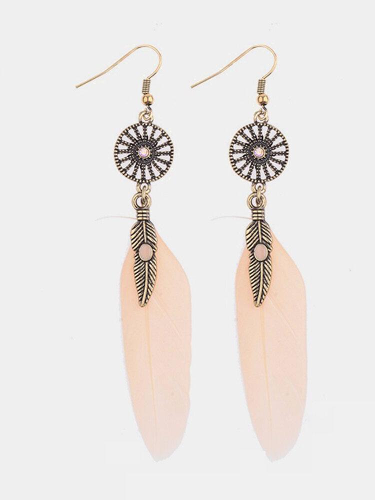 Bohemian Tassel Earring Alloy Feather Long Earrings for Women Gift