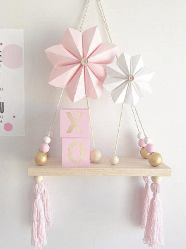 Kids Baby Bedroom Wall Hanging Ornaments Tassel Pearl Pendant Wooden Board Shelf Home Decoration