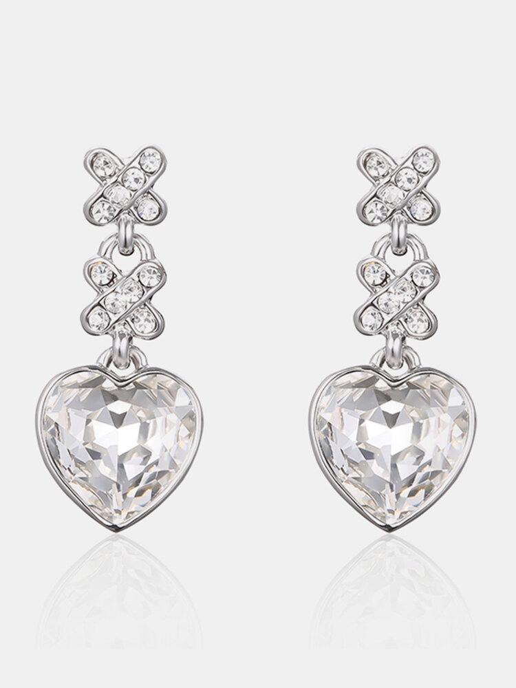 Sweet Heart Earrings Tassel Rhinestone Crustal Earrings