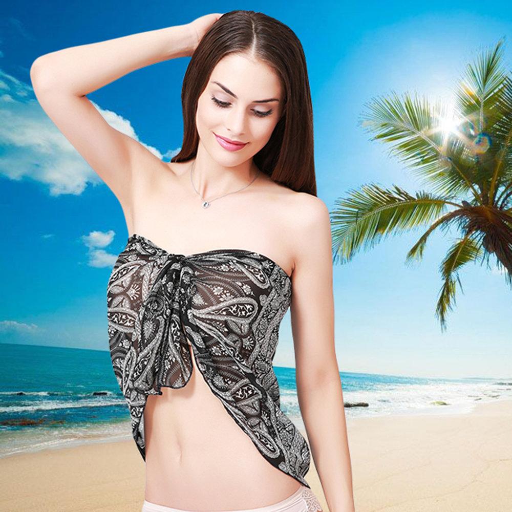 30ac6434f56e Traje de baño de gasa de verano junto a la mujer para cubrir Playa Abrigo  Bikini de Sarong Cubrir para vacaciones