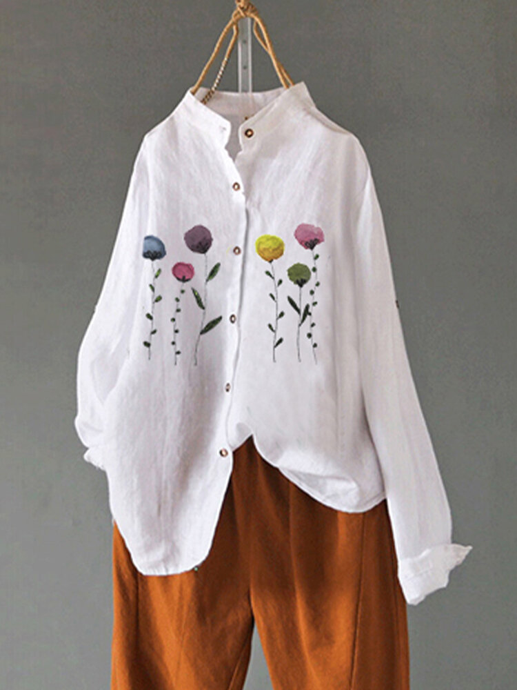 Floral Printed Button O-neck Long Sleeve Blouse