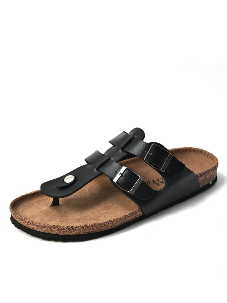 Men Casual Backless Comfy Cork Bottom Clip Toe Slippers