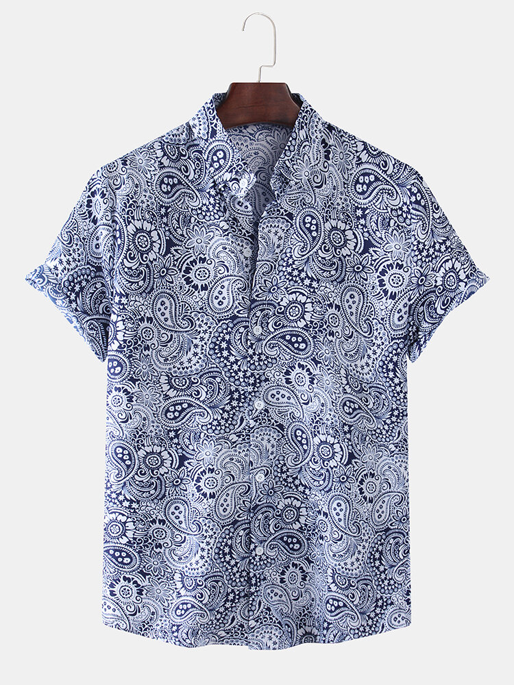 Mens Cotton Ethnic Vintage Printed Loose Casual Short-sleeved Shirt